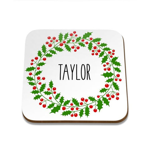 Wreath Square Coaster - Set of 4
