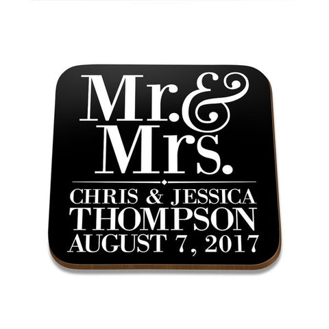 Mr & Mrs Square Coaster - Set of 4