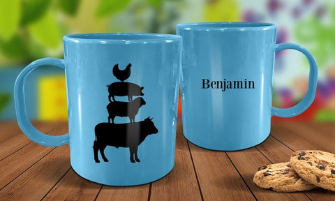 Farm Animals Plastic Mug - Blue