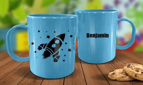 Rocket Plastic Mug - Blue