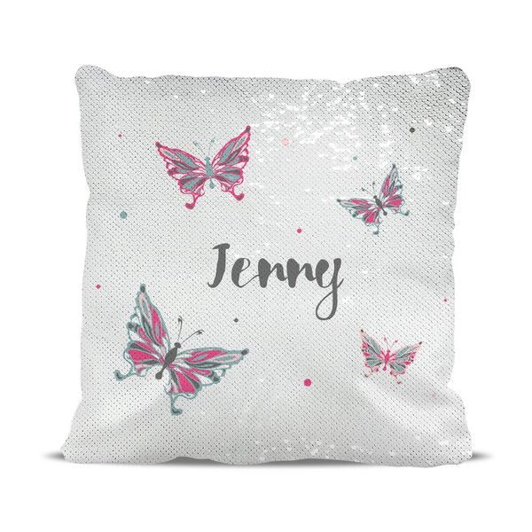 Butterflies Reversible Sequin Cushion Cover