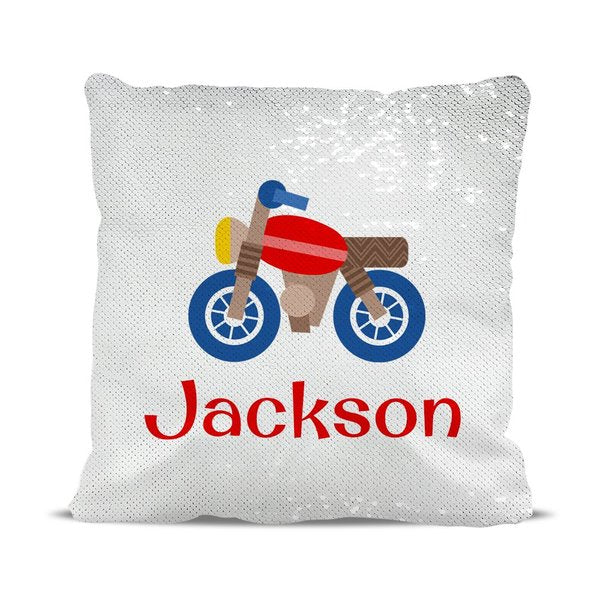 Motorbike Reversible Sequin Cushion Cover