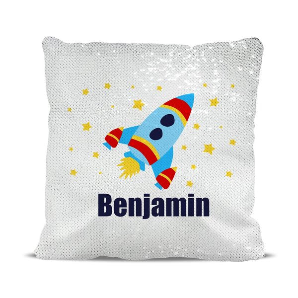 Rocket Reversible Sequin Cushion Cover