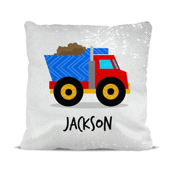 Truck Reversible Sequin Cushion Cover