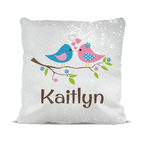 Two Birds Reversible Sequin Cushion Cover