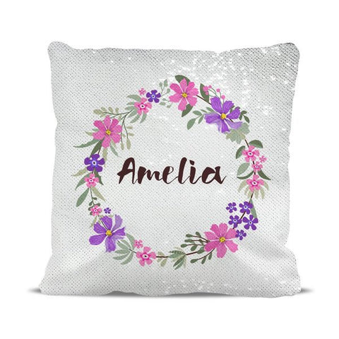 Wreath Reversible Sequin Cushion Cover