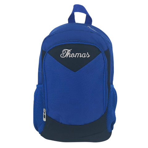 Blue Embroidered Backpack - Medium