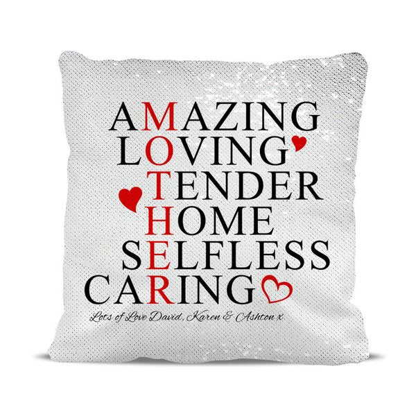Amazing Mother Reversible Sequin Cushion Cover
