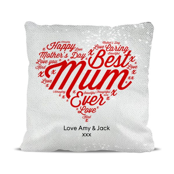 Best Mum Ever Magic Sequin Cushion Cover