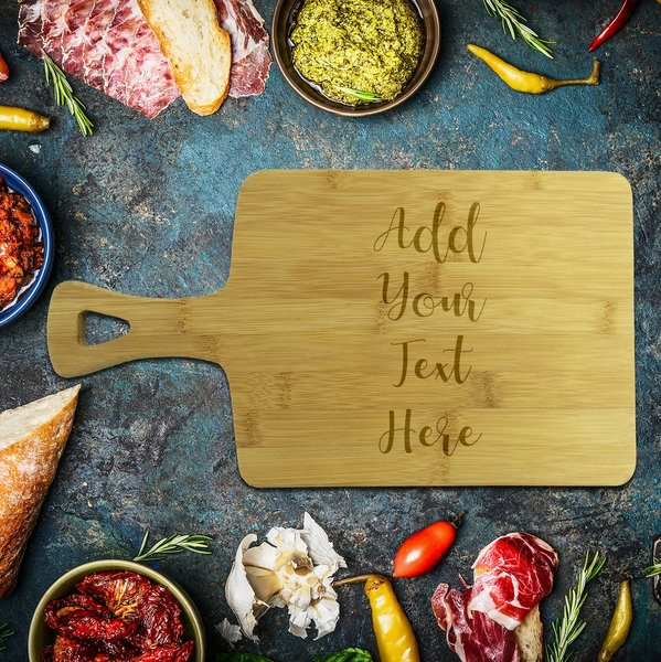 Add Your Own Message Rectangle Bamboo Serving Board