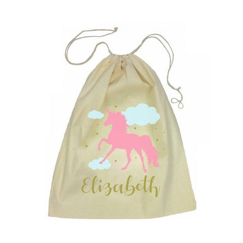Calico Drawstring Bag - Pink Unicorn
