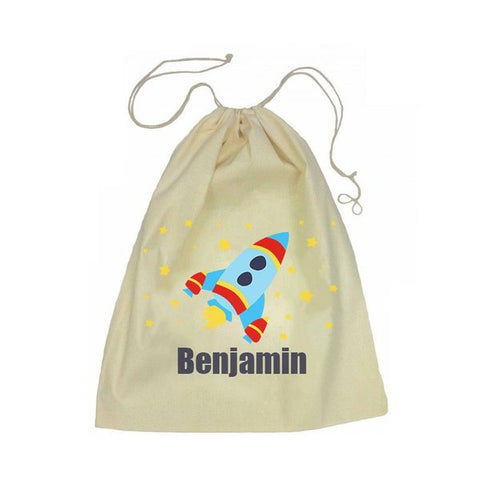 Calico Drawstring Bag - Rocket