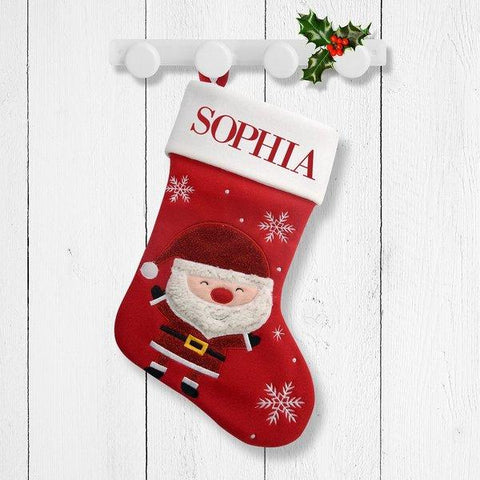 Smiley Santa Red Santa Stocking