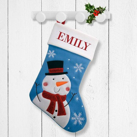 White Snowman Blue Santa Stocking
