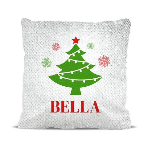 Christmas Tree Sequin Cushion Cover