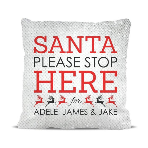 Santa Stop Sequin Cushion Cover