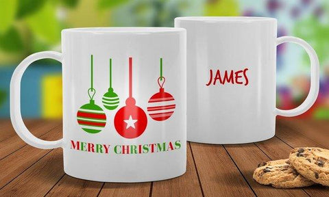 Bauble White Plastic Christmas Mug
