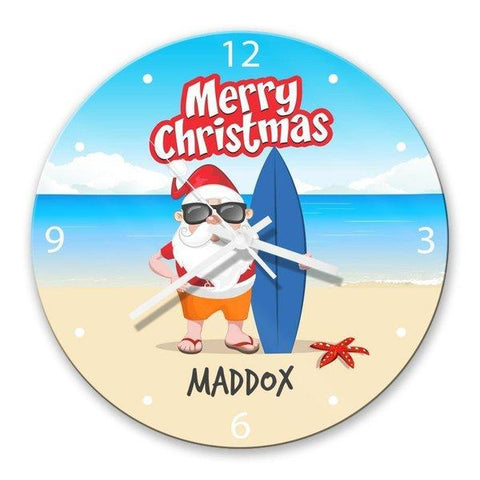 Beach Santa Glass Clock