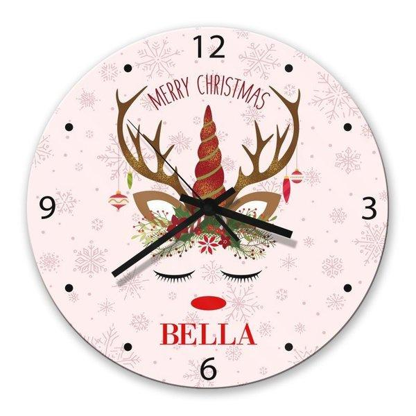 Christmas Unicorn Glass Clock