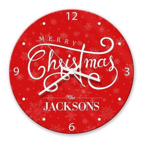 Merry Christmas Glass Clock