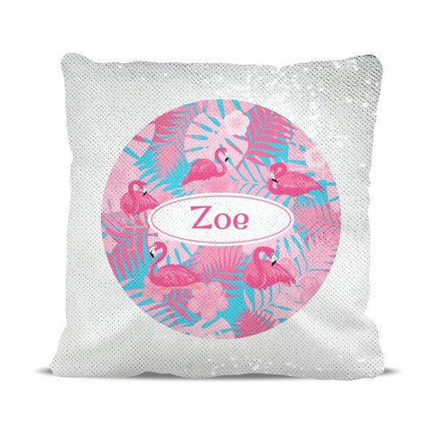 Flamingo Reversible Sequin Cushion Cover