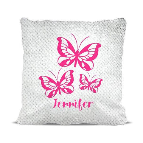 Pink Butterflies Reversible Sequin Cushion Cover