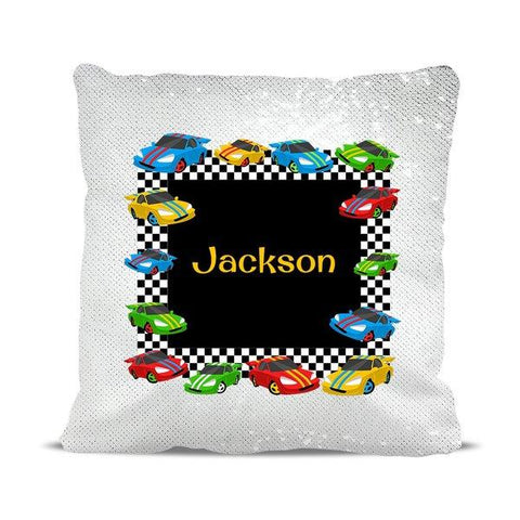Race Cars Reversible Sequin Cushion Cover