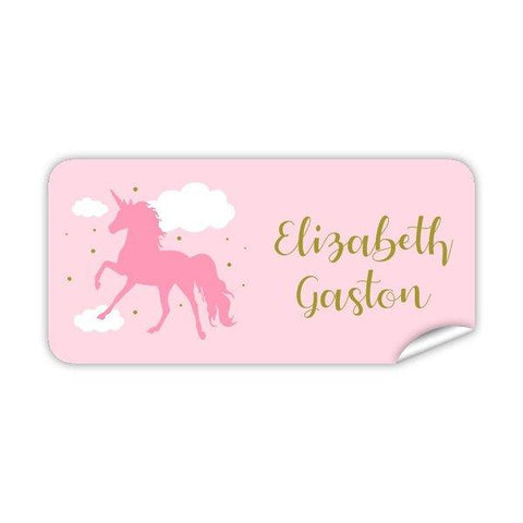 Pink Unicorn Rectangle Labels 42pk