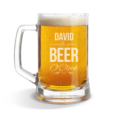 Beer O'Clock Glass Beer Mug