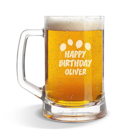 Happy Birthday Glass Beer Mug
