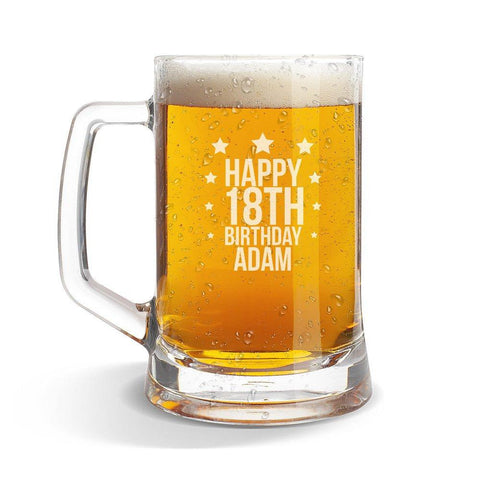 Star Birthday Glass Beer Mug