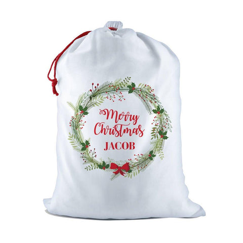 Merry Christmas Wreath White Santa Sack
