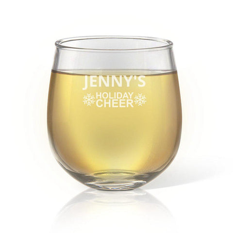 Holiday Cheer Stemless Wine Glass