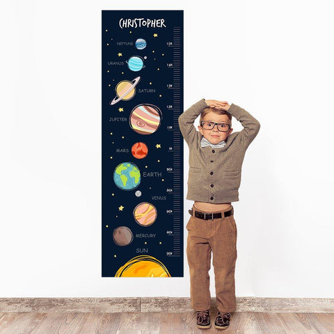Planet Wall Decal Height Chart