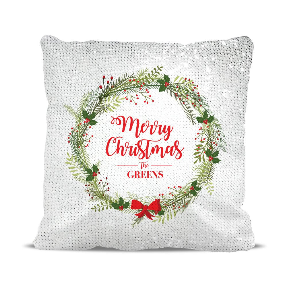 Christmas Wreath Sequin Cushion Cover