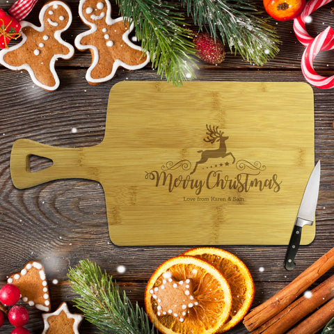 Reindeer Christmas Rectangle Bamboo Serving Board