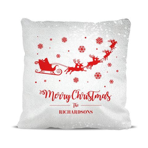 Santa Sleigh Sequin Cushion Cover