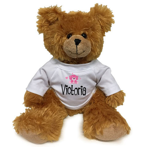 Pink Bear on White Shirt Brown Bear