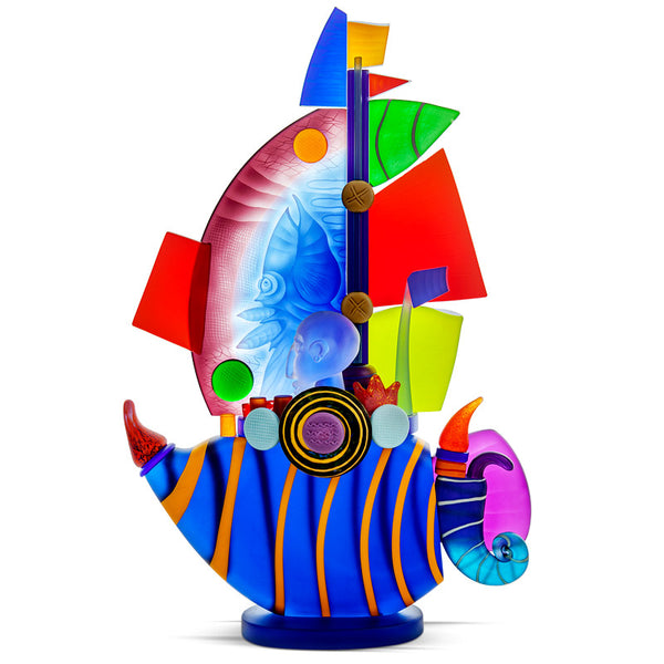 SAILBOAT LARGE - Object by PB, Art sculpture, [Borowski Art Glass in Asia]