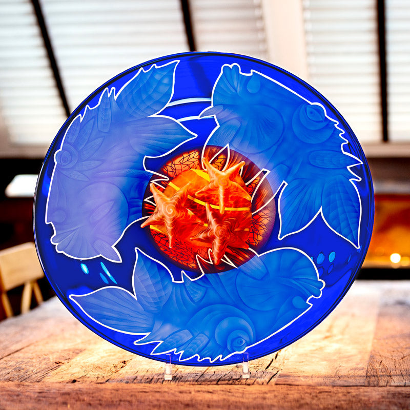 OCEAN TRIO - Plate by Pawel, Art sculpture, [Borowski Art Glass in Asia]