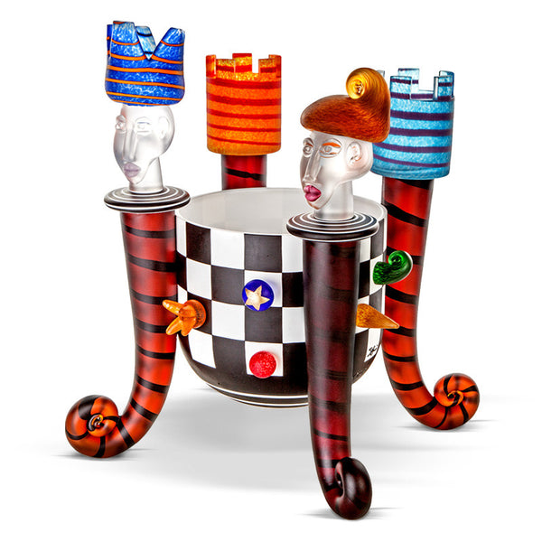 CHESS BOWL - Bowl by SJB, Art sculpture, [Borowski Art Glass in Asia]