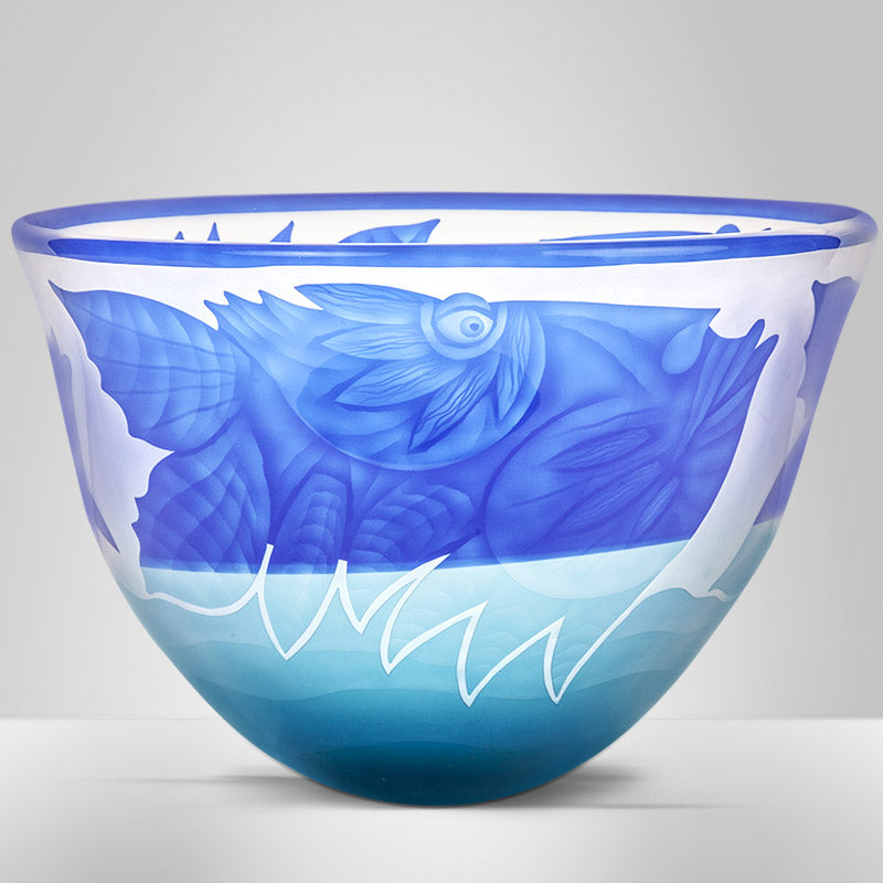 OCEAN TRIO - Bowl by Pawel, Art sculpture, [Borowski Art Glass in Asia]