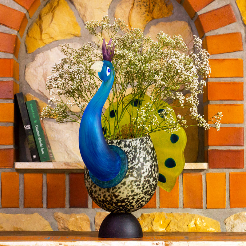 PEACOCK - Vase, Vase, [Borowski Art Glass in Asia]