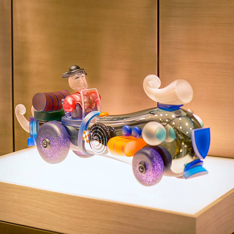 RETRO CAR & HIS MAN - Object by PB, Art sculpture, [Borowski Art Glass in Asia]