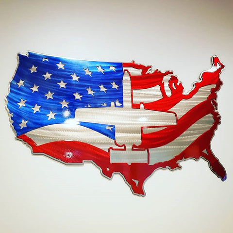 Premium American Flag / Aircraft Steel Map / Multi-layer - PLANEFORM