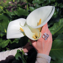 Peace Lily Ring Sterling Silver
