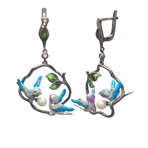 Birds Earrings With Shell Pearl