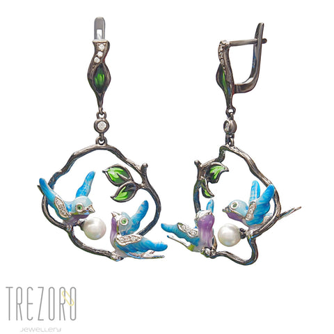 Birds Earrings - Sterling Silver, Blue Enamel, CZ, Shell Pearl