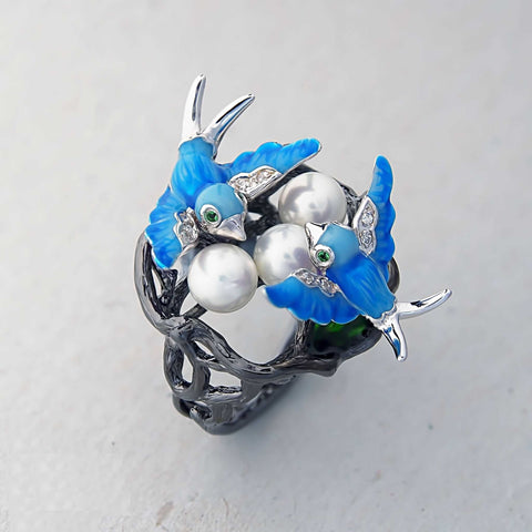 Birds Ring With Shell Pearl