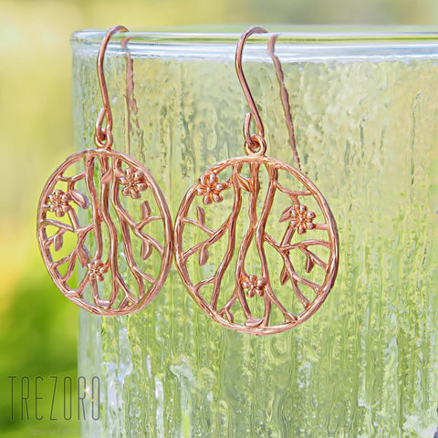 Designer Earrings Sterling Silver Rose Gold Plated